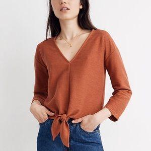 Texture & Thread Long-Sleeve Tie-Front Top S
